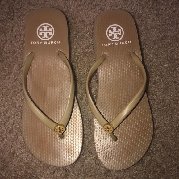 Tory Burch Tan flip flops used 6